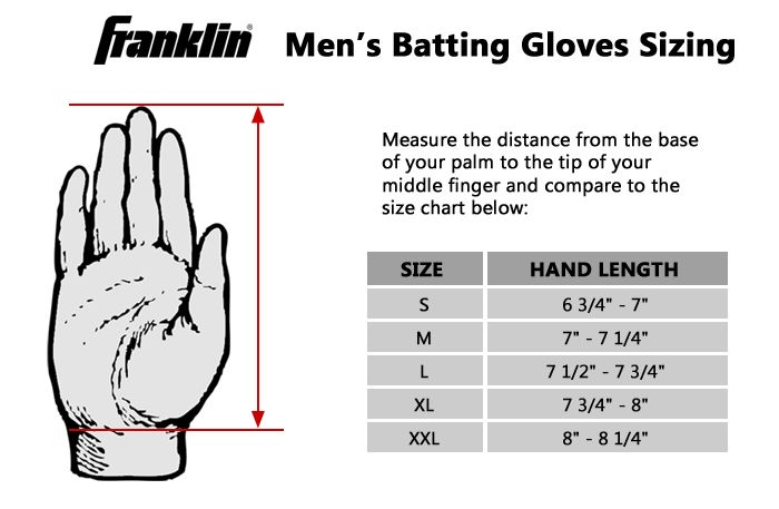 Franklin Batting Glove Size Chart Gloves Mlb Baseball
