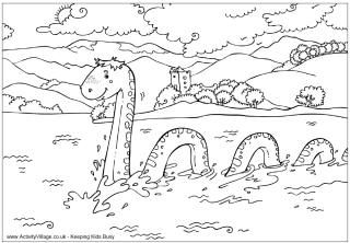 Around The World Colouring Pages Monster Coloring Pages Loch