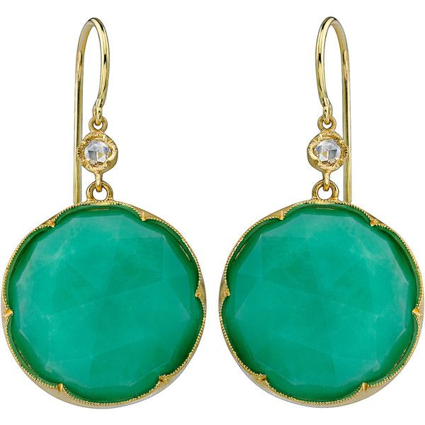 Irene Neuwirth Chrysoprase & Diamond Earrings ❤ liked on Polyvore