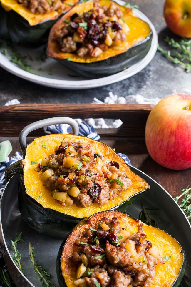 Stuffed Acorn Squash With Sausage Apples And Cranberries Paleo