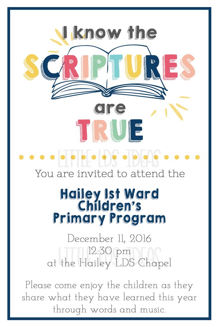 2016 Lds Primary Program Invitations Program Cover Church