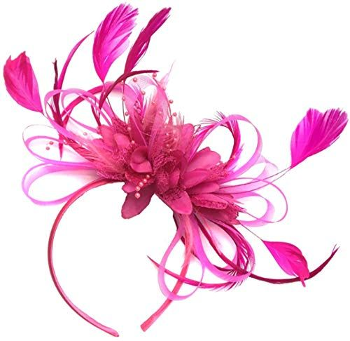 New Fuchsia Hot Pink Feather Hair Fascinator Headband Wedding Royal Ascot Races Ladies online shopping - Perfecttopagain