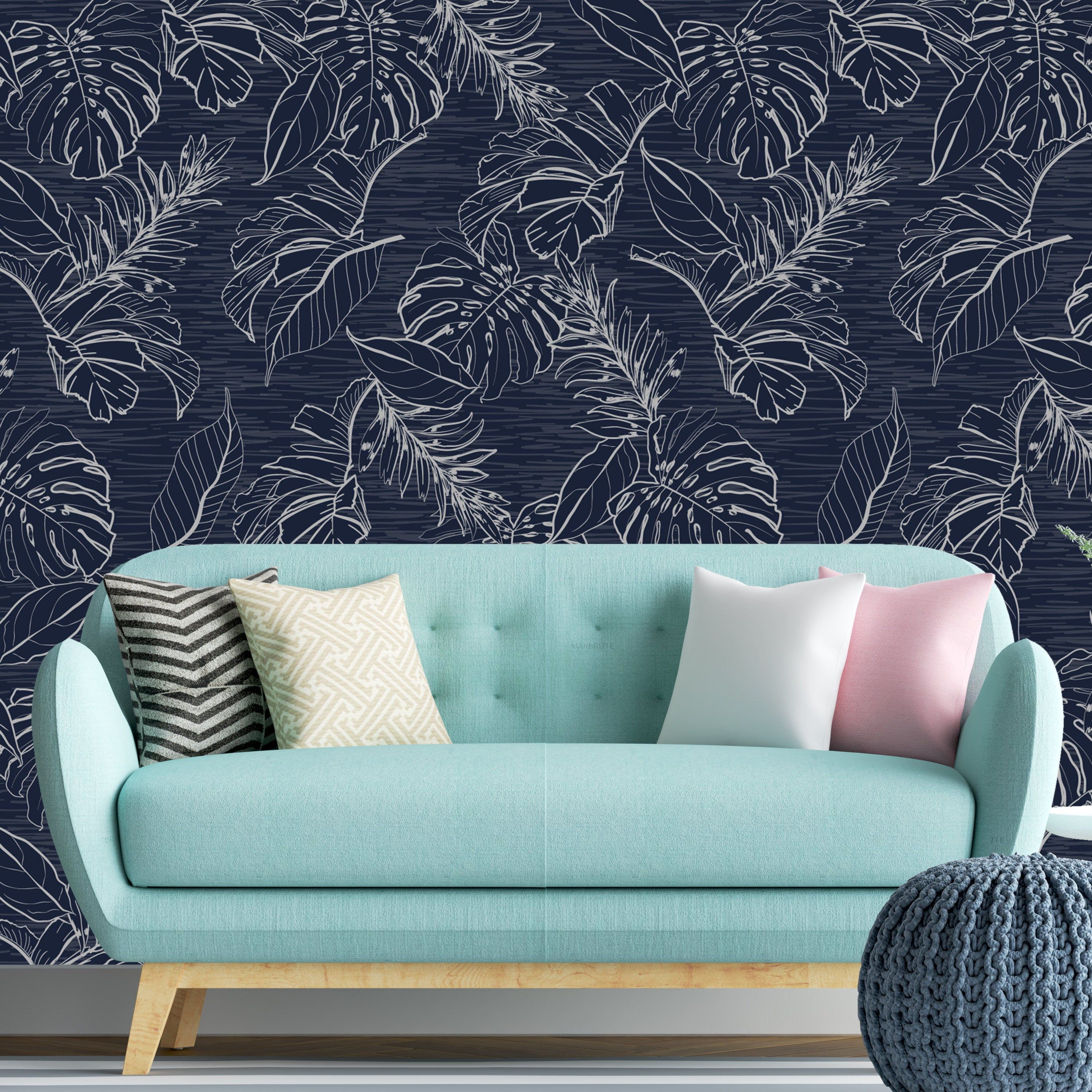 Peel And Stick Removable Wallpaper Dark Blue Monotone Etsy Accent Wall Removable Wallpaper Indoor Air Quality