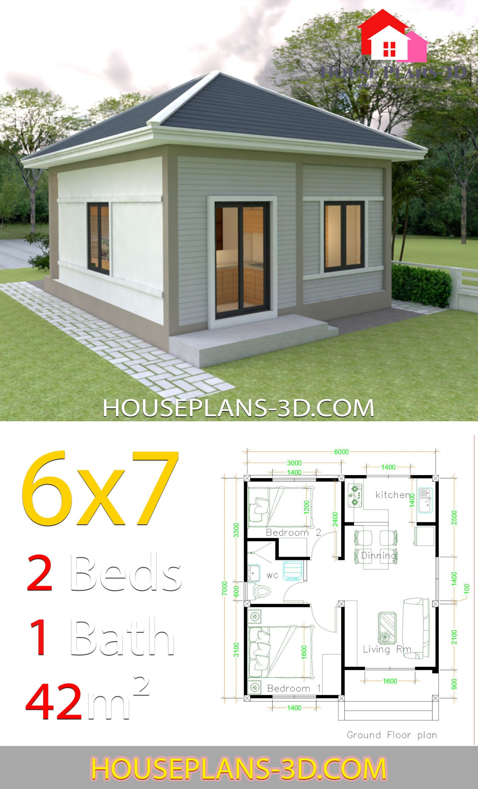 Simple House Plans 6x7 With 2 Bedrooms Hip Roof House Plans 3d In 2020 House Plans Simple House Simple House Design