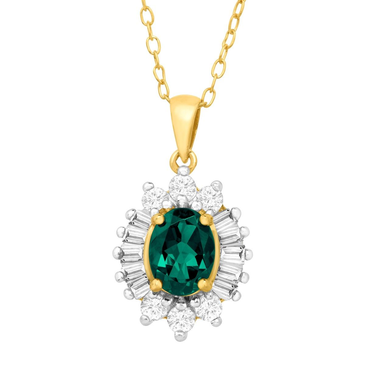 3/17/16 - 2 1/8 ct Emerald & White Sapphire Pendant in Sterling Silver