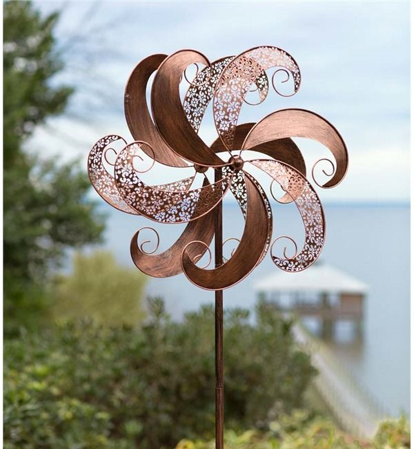 Copper Colored Windmill Metal Spinner In Wind Spinners