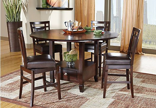 Picture Of Landon Chocolate 5 Pc Counter Height Dining Set From Inspiration Height Dining Room Table Inspiration Design