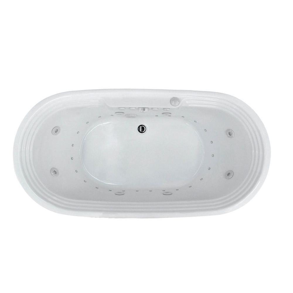 Universal Tubs Pearl 5 6 Ft Acrylic Center Drain Flatbottom Whirlpool And Air Bath Tub In White Hd3467rd Bathtub Drain Tub Drain Repair
