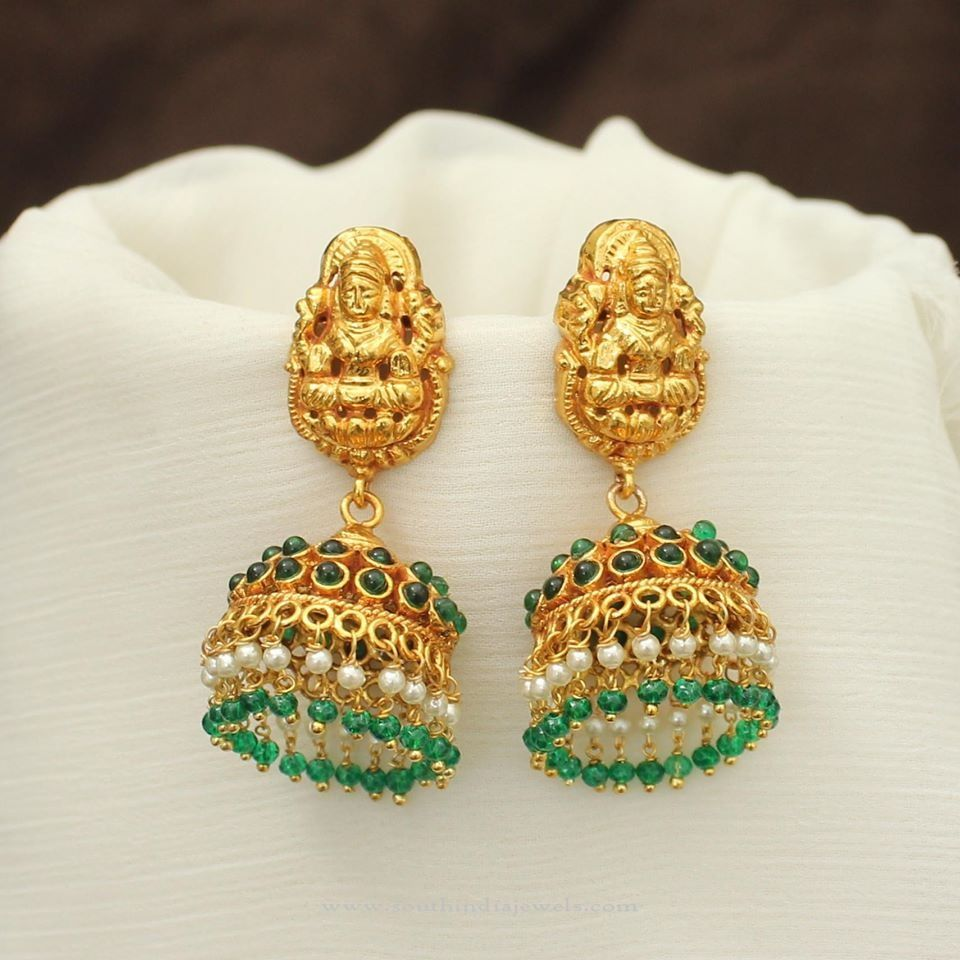 Green Stone Jhumka South India Jewels Gold Bangle Set Gold Jhumka Earrings Pearl Jewelry Necklace