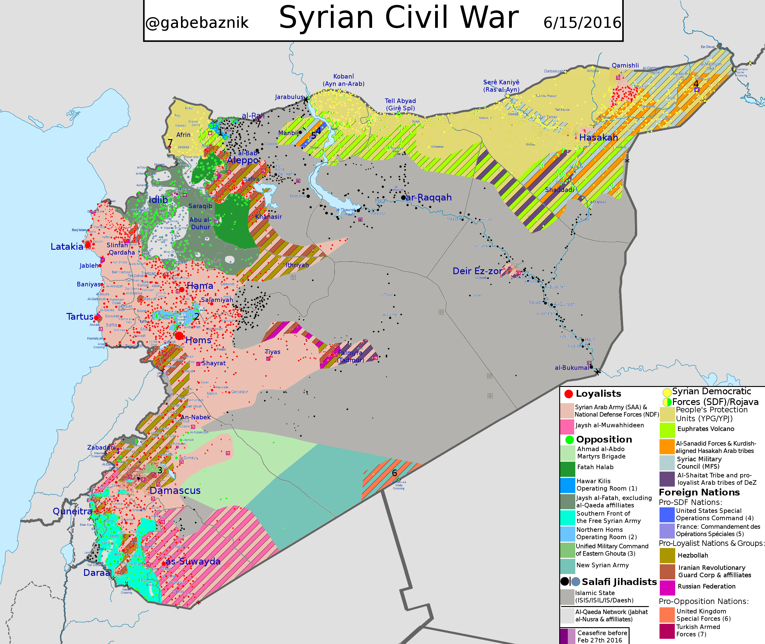 Detailed map of general situation in Syria as of June 2016 with