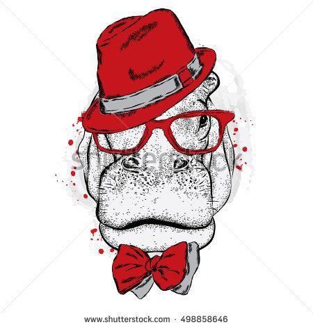 Funny Monkey Stylish Hat Sunglasses Vector Stock Vector (Royalty Free) 563487379