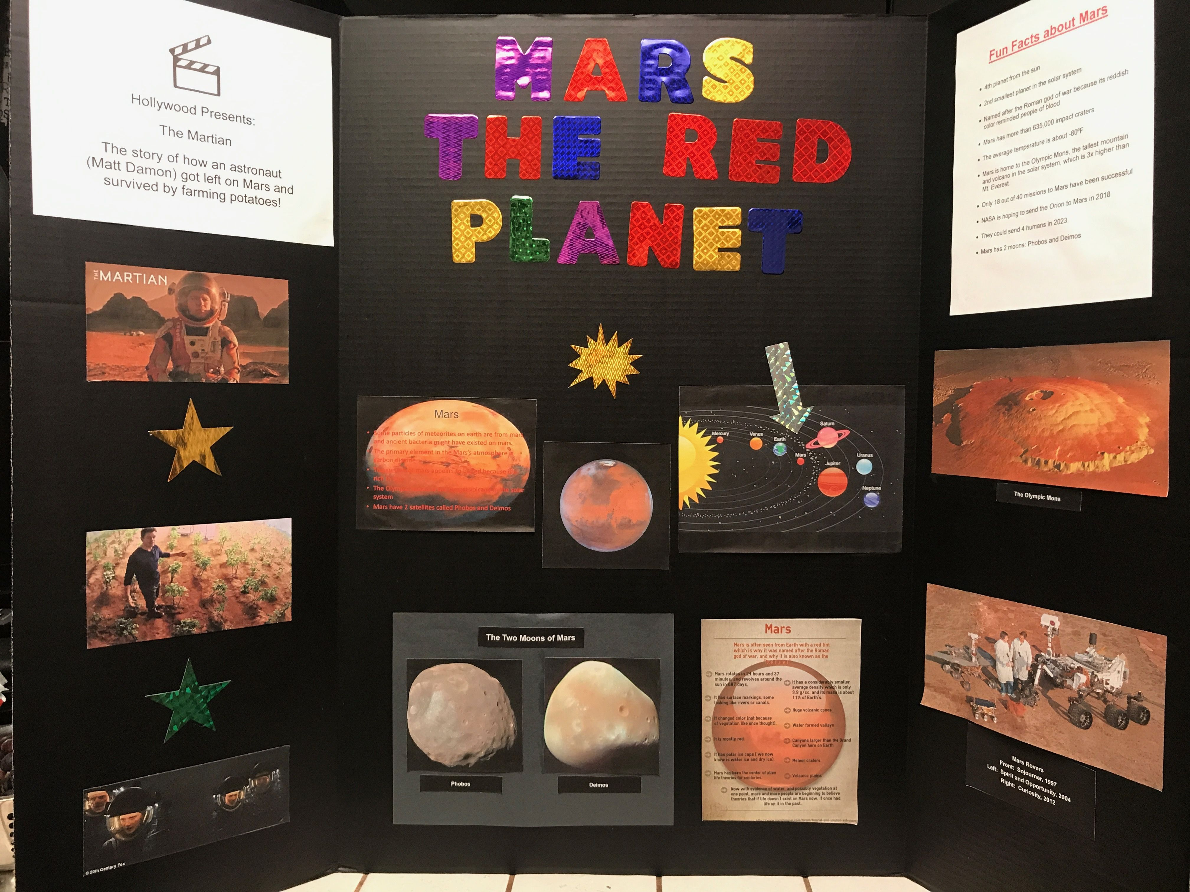 3rd grade Mars display Planet project Mars project