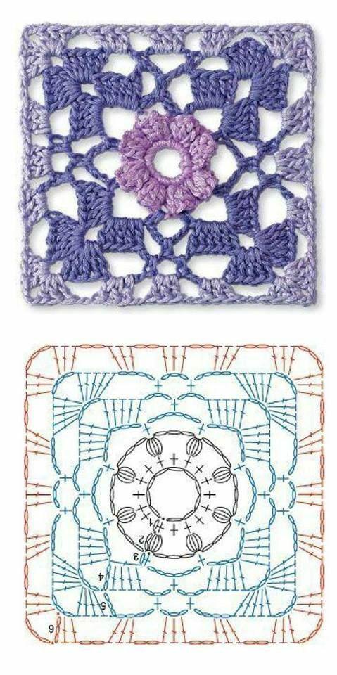 Pin de Fareeba en knitting | Pinterest | Ganchillo, Cuadrados de ...