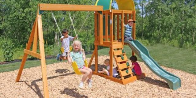 Cedar Summit Premium Play Wooden Swing Set Only 279 00