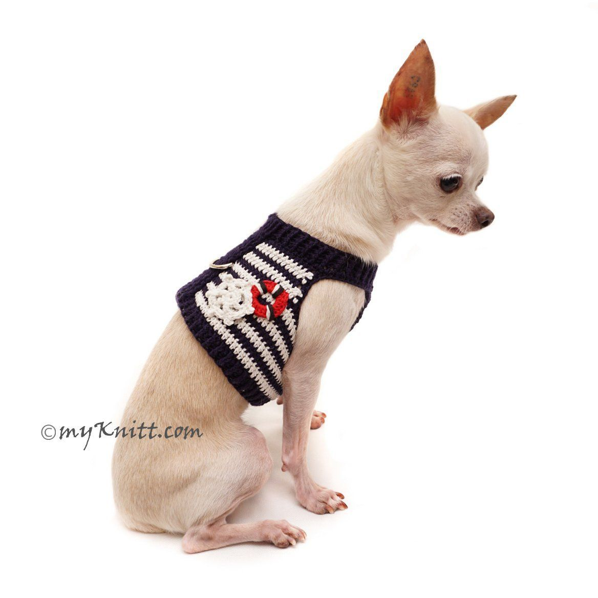 Nautical Marine Sailor Dog Harness Red White Blue #chihuahua Clothes