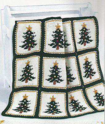 Crochet Pattern Instructions Christmas Pines Afghan Christmas Tree Crochet Xmas Christmas Crochet Patterns Christmas Crochet