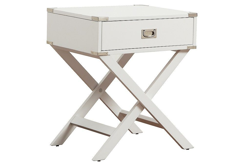 Anders Campaign Nightstand, Silver/White | One Kings Lane