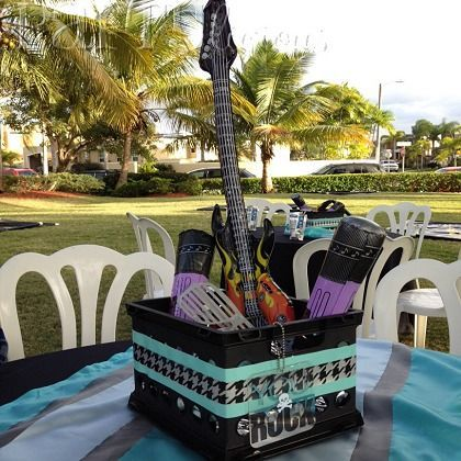 Birthday party ideas for kids party centerpieces - Rock and roll theme party decorations ...