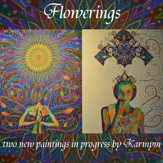 Flowerings, two new paintings in progress, September 2014
