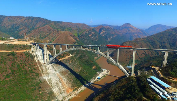 Nanpan River Railway Bridge under construction in SW China's Yunnan
