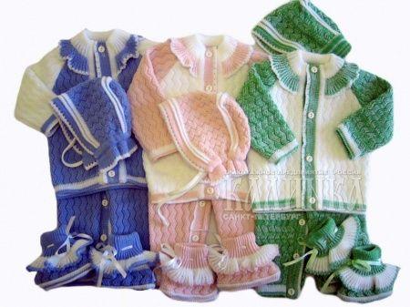 вязаные костюмчики для новорожденных модели и варианты вяжем