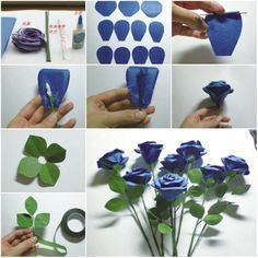 Blue step by step handmade flowers from paper library decor blue step by step handmade flowers from paper mightylinksfo