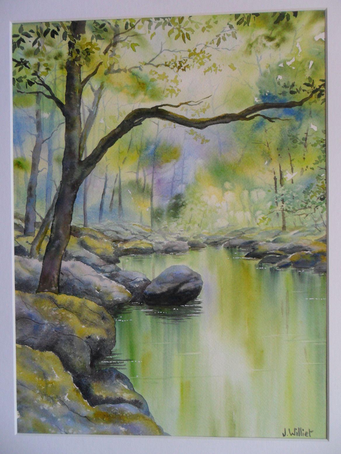 Riviere En Sous Bois 2 30 X 40 Cm Art Abstrait Aquarelle