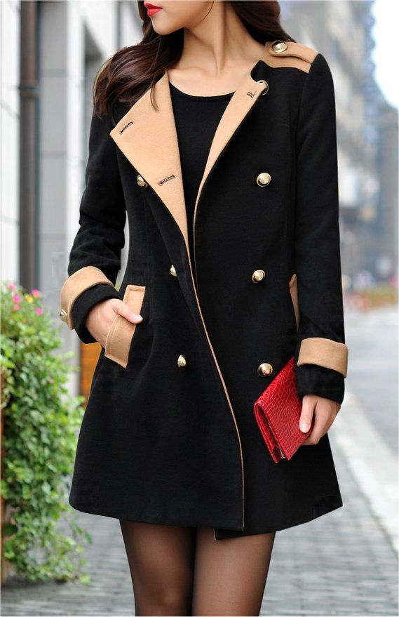 91c7f5cb84011 Camel Black Women Double Breasted Lapel Long Trench Coat Jacket Outwear Top  M