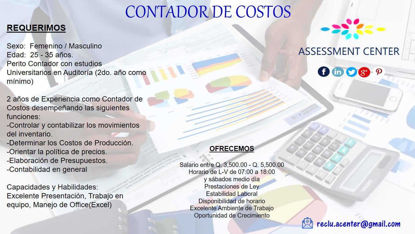Lunes de #Empleos Estamos contratando: CONTADOR DE COSTOS Si cumples ...