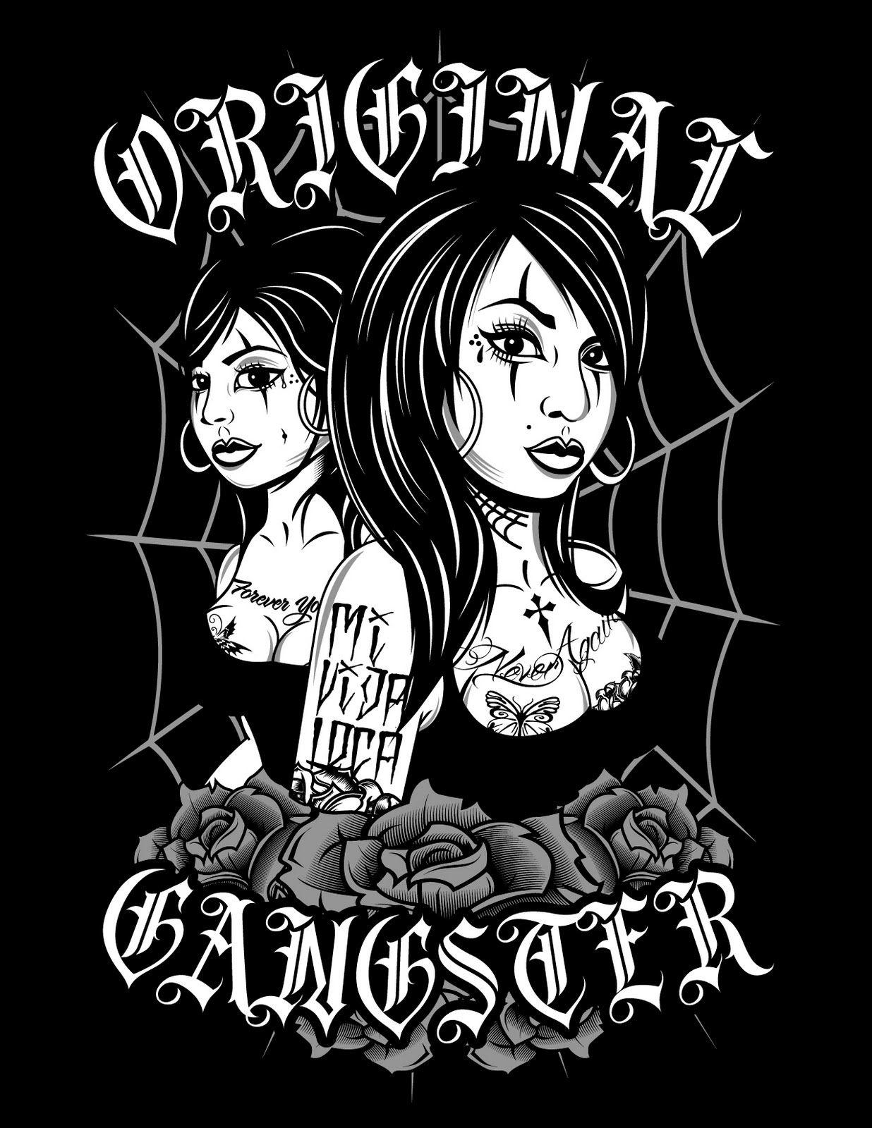 gangster skull logo original gangster vintage oldies pin up
