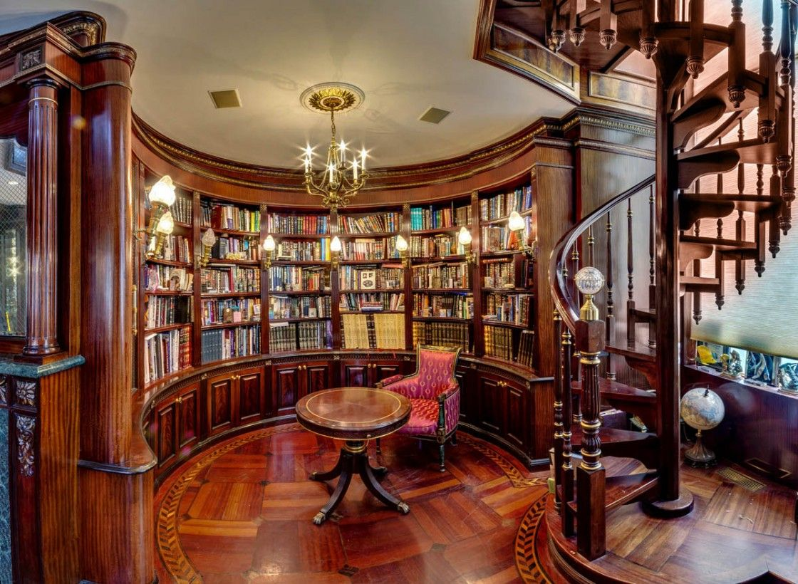 Old Style Home Library Design Featuring Brown Varnishes Semi circle Teak  Wood Cupboard With Solid Brass Chandelier Over Round Pedestal Library Table  As Well. Old Style Home Library Design Featuring Brown Varnishes Semi