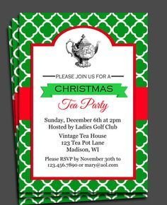 Christmas Tea Party Invitation Printable Or Printed With Free Etsy In 2021 Christmas Tea Party Christmas Tea Christmas Party Invitations