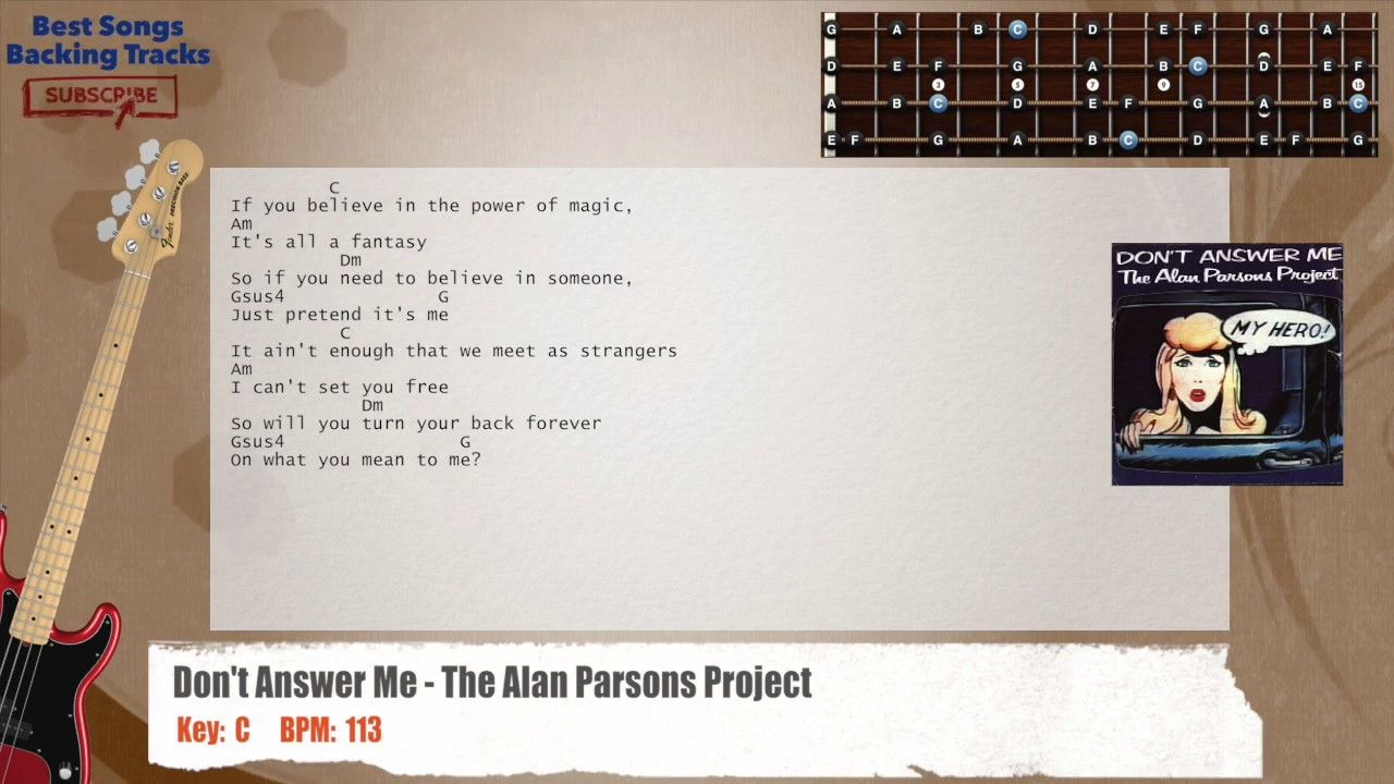 Don T Answer Me The Alan Parsons Project Bass Backing Track With
