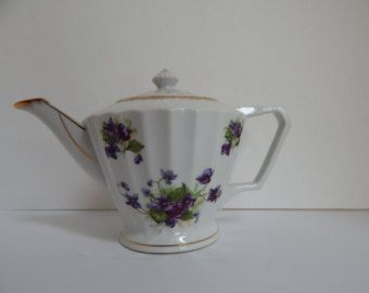 Lefton Violet flower tea pot / vintage tea pot