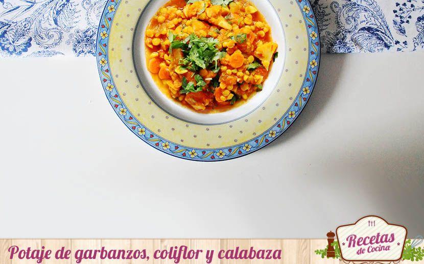 """Potaje de garbanzos, coliflor y calabaza -  Las bajas temperaturas nos """"obligan"""" a rescatar platos de cuchara relegados a un segundo plano durante el verano. Platos tan apetecibles como este potaje de garbanzos, coliflor y calabaza; un plato con una interesante combinación de ingredientes y ¡mucho color! tal como podéis com... - http://www.lasrecetascocina.com/potaje-de-garbanzos-coliflor-y-calabaza/"""