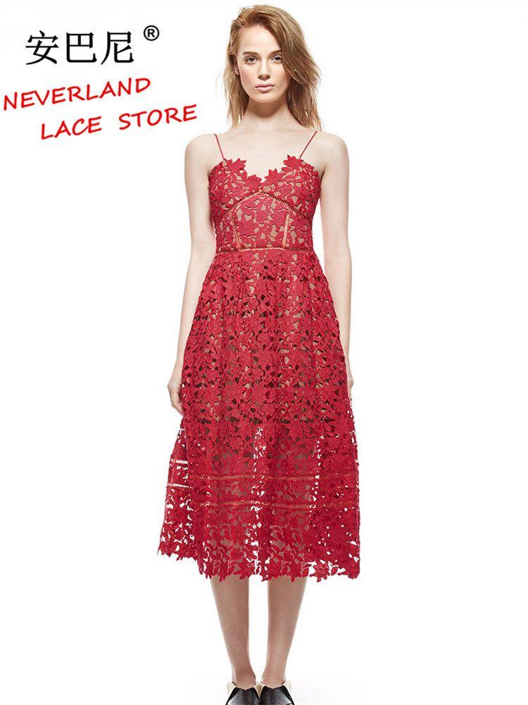 Summer Dresses 2017 Women s Sexy Spaghetti Strap Lace Mid-Calf Dress  Crochet V Neck Backless Self Portrait Dress Vestidos  2173  Vestidos 8d2a8f4d3638