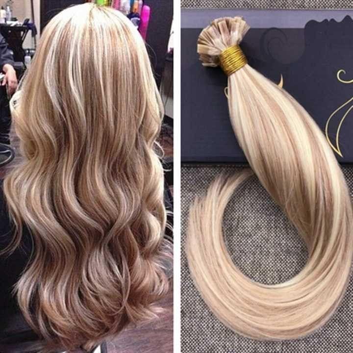 14 24 Flat Tip Caramel Highlighted With Bleach Blonde Human Hair