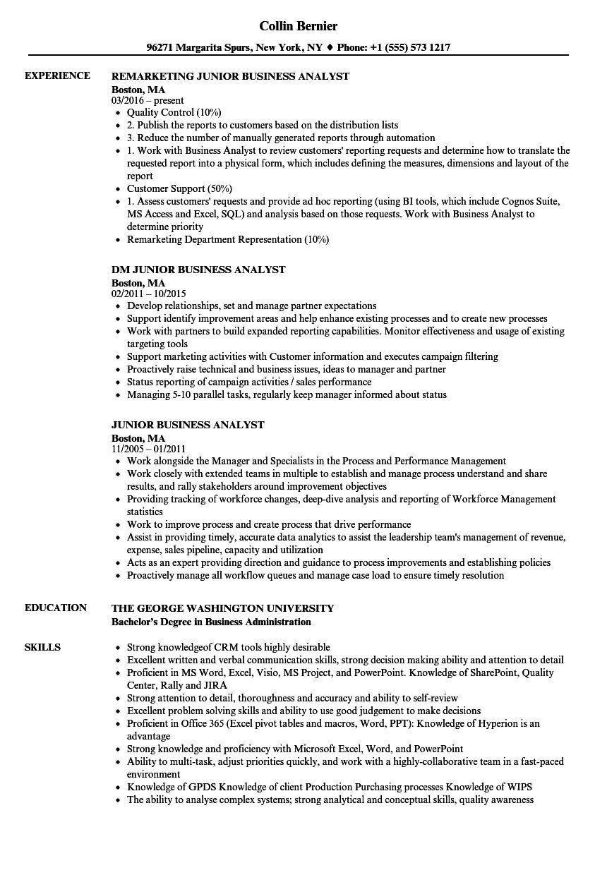 Junior Business Analyst Resume Elegant 30 Entry Level