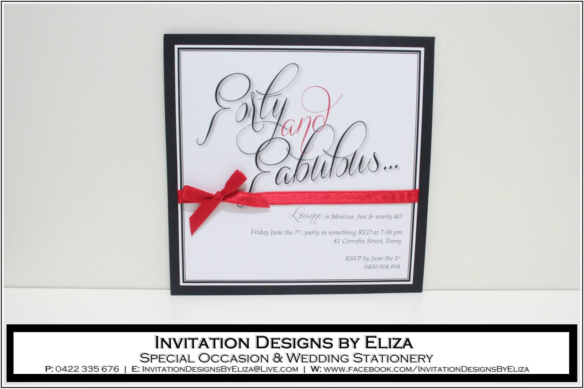 Invitation Designs Th Birthday Black White  Red Theme Https