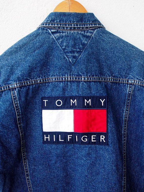 Vintage 90er TOMMY Hilfiger großes Logo 80er Hip Hop Stickerei ... 3393727144
