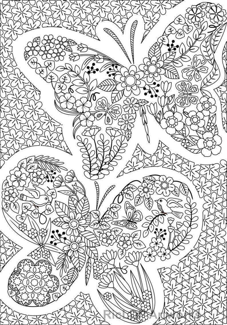 Three 3 Uniquely Shaped Coloring Pages Swan Butterfly Etsy Coloring Pages For Grown Ups Detailed Coloring Pages Coloring Pages [ 1134 x 794 Pixel ]