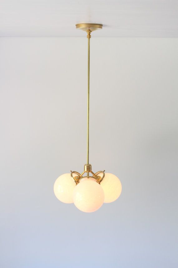 Brass Chandelier, Globe Pendant Lamp, Modern Industrial Hanging ...