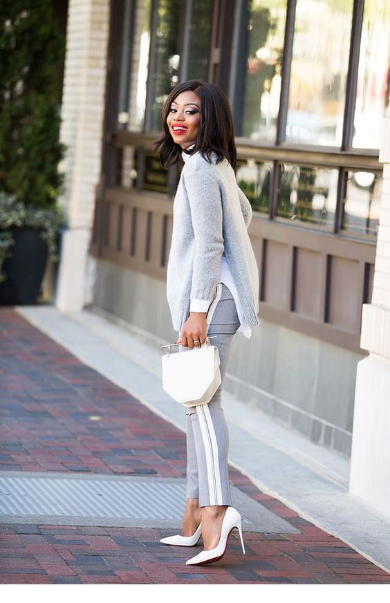 Grey and white, the perfect combo | Work fashion, Classy ...