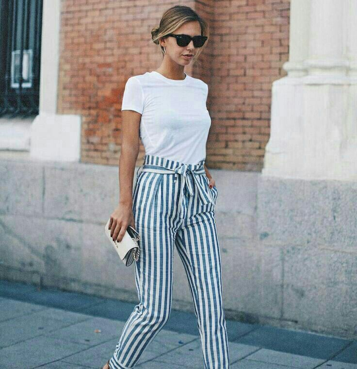 Stripe Pants White Simple Tee With Short Sleeves Summer Trendy Outfit For