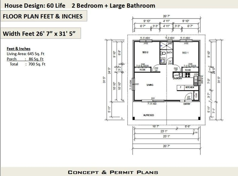House Plan 60life 2 Bed Home On Concrete Slab House Plans Buy This Plan 2 Bed Home On Concrete Slab House In 2020 House Plans For Sale Flat House Design House Plans