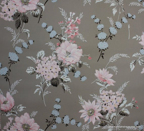 1940 S Vintage Wallpaper Floral Wallpaper With Large Pink And