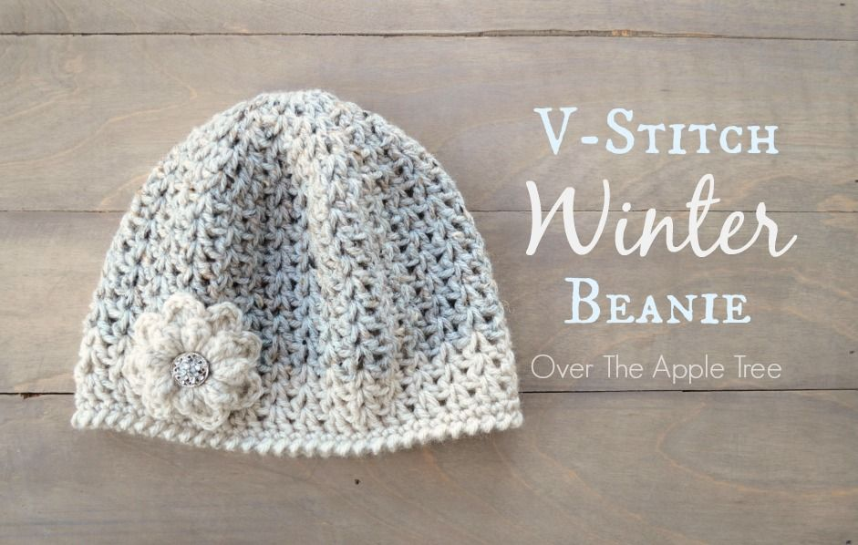 V-stitch Winter Beanie, free pattern, Over The Apple Tree ...