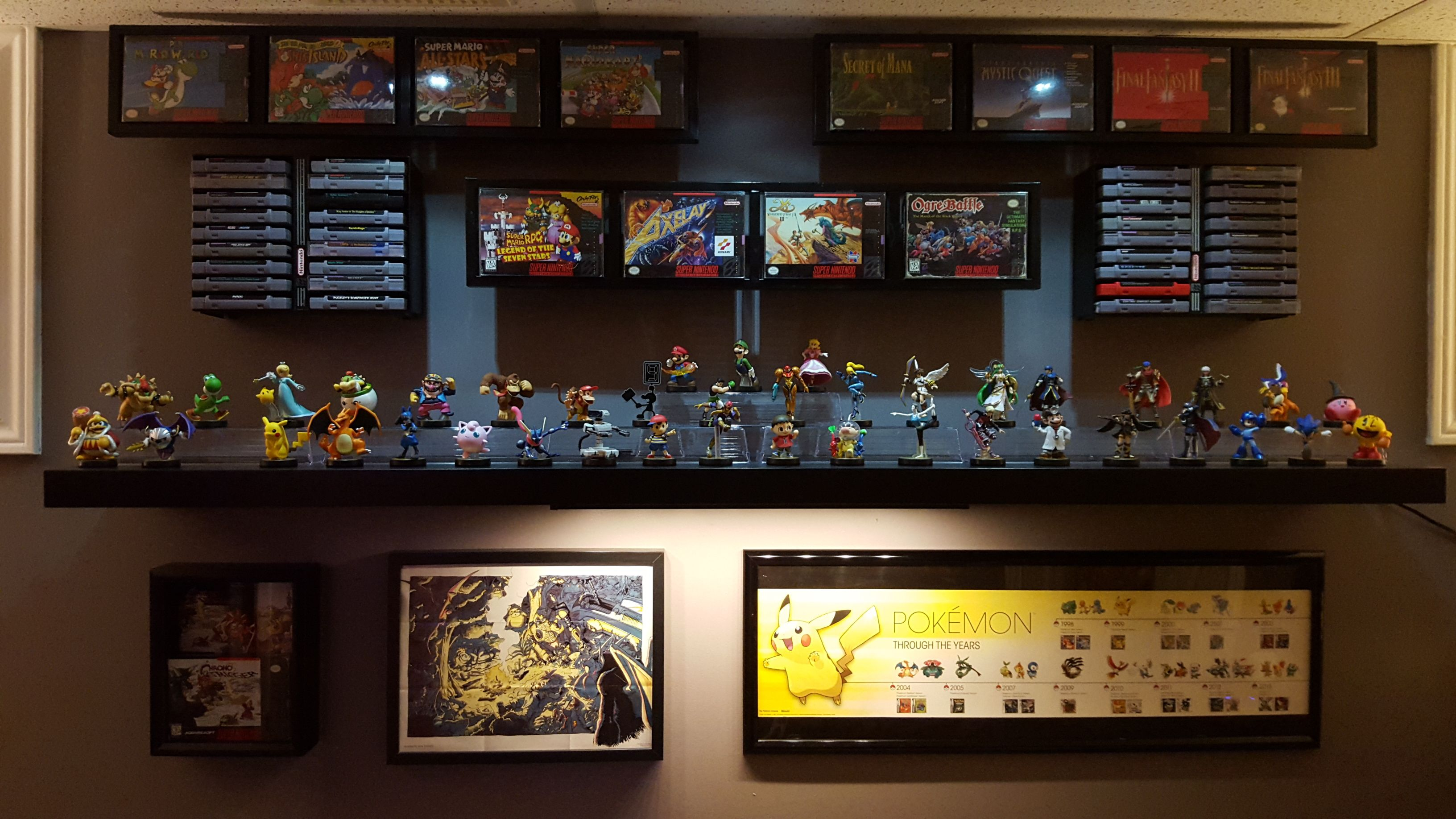 amiibo and snes game display shelves via reddit user game shelves game shelves
