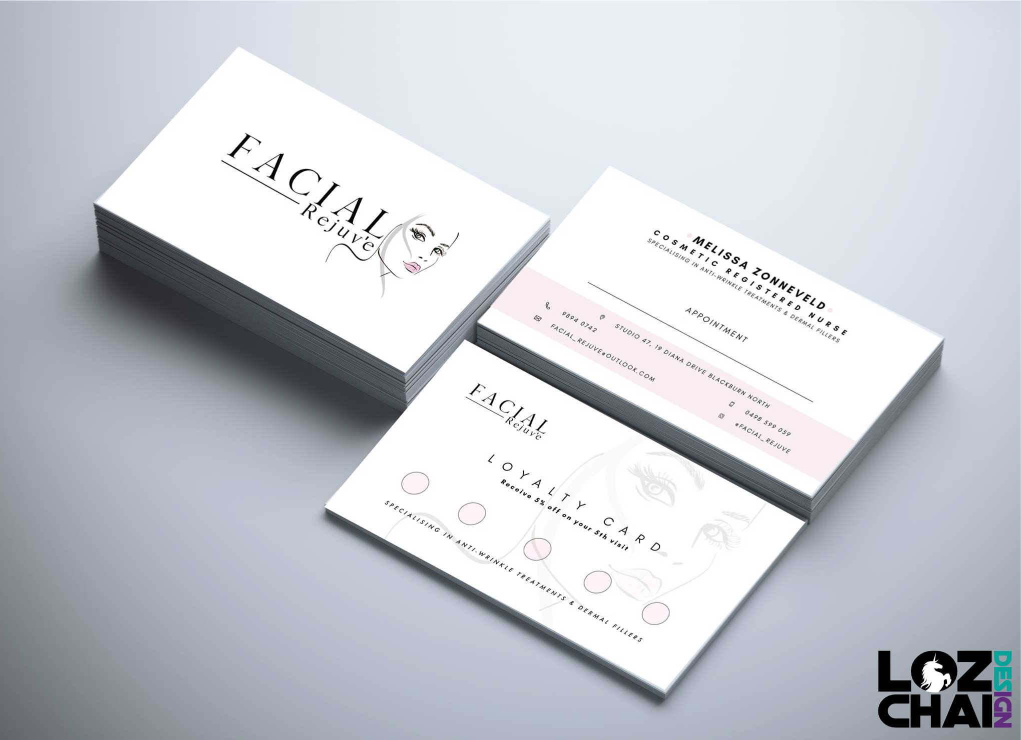 Clean , minimal logo design and layout for cosmetologist business ...