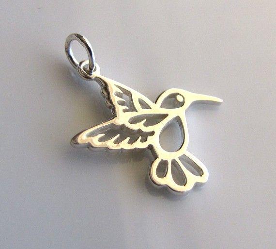 Sterling Silver Hummingbird Charm от PoppySpot на Etsy